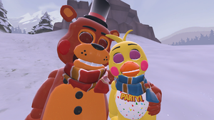 Snowy Day~ (Toy Freddy x Toy Chica) by AngryMordReturns