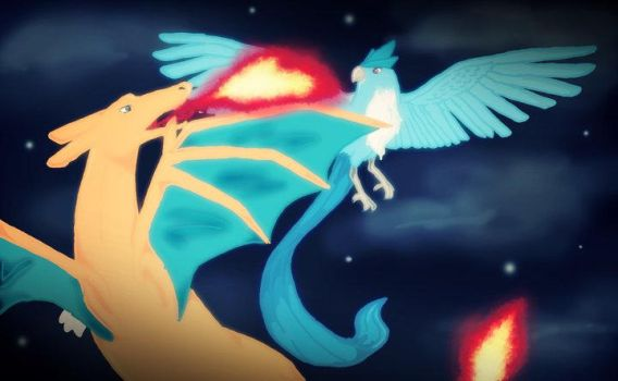 Charizard vs Articuno by RuzMustang