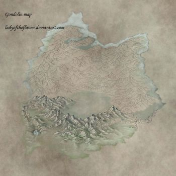 Gondolin map in progress by Ladyoftheflower