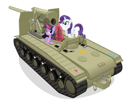 Twilight and Rarity Find an S-51 by MrLolcats17