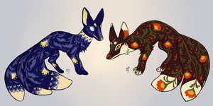 (Closed) Folk Art Foxes by The-Monster-Shop