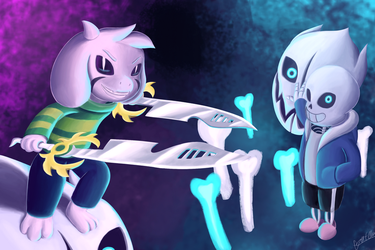 Asriel and Sans by TheUnconsistentOne