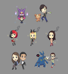 some chibi and pokemon commissions by CJsux