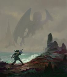 Link in R'lyeh facing a final boss. by fabianrensch