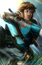 Link and Wolf by chiketart