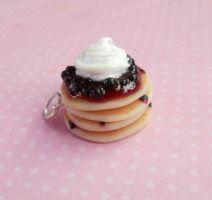 Polymer Clay Blueberry Pancake Charm by ScrumptiousDoodle