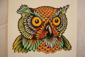 Owl Head Tattoo Design by itchysack