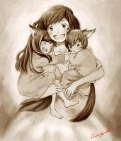 The Wolf Children Ame and Yuki by farooky