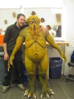 Me posing with Cthulhu by VictorianSpectre