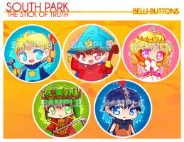 South Park - Stick of Truth Buttons by jinyjin
