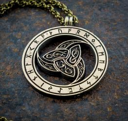 Vikings Odin Triskele Three Horns brass pendant by KristoLiiva