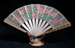 lace fan with pink flowers by averil-hylton