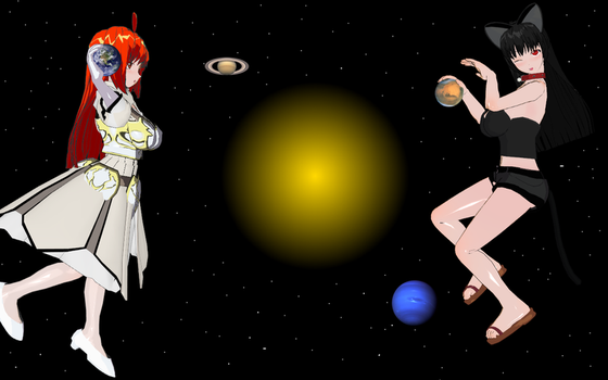 big girls play with planets by Evil-Queen-kitty