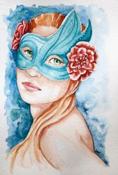Aquarelle-masque by WulfilaDellaLuna