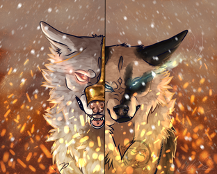 {Collab} .:.  Tense fire by BlueWolfieART