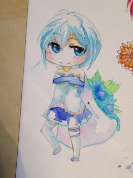 Sayaka Miki Chibi ( Watercolour and Copic) by Lemonsquasch
