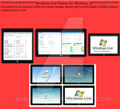 Windows Live Themes for Windows 10 by WIN7TBAR