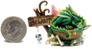 FANTASY WITCH SLEEPING DRAGON by WEE-OOAK-MINIATURES