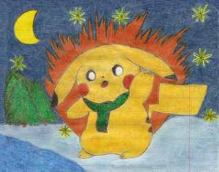 Pikachu during the winter by Nejti