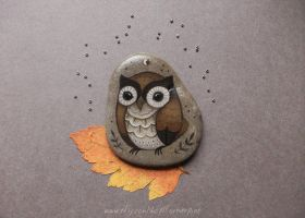 Brown owl with black ferns and tiny moon by JillHoffman