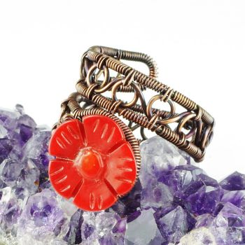 Coral Flower and Copper Ring by Gailavira