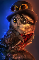 steampunk owl by 4steex