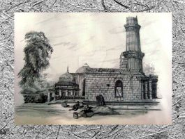 Qutab Minarat and side view-Dehli India by MODalineARTisTree