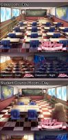 FY Background: Classroom and Student Council Room by MagicalSakura