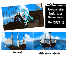 MMD Antique ship, little boat and ocean dome by IgnisDraconi