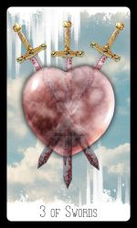 Rising Age Tarot: 3 of Swords by iamtequila