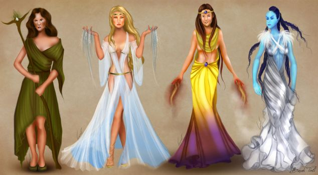 Female Elementalists of Conflux with full outfits by BasakTinli