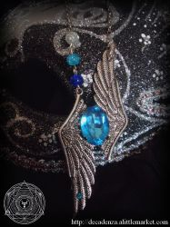 new collection winged gothic necklace ATIXIA by midnightbreath