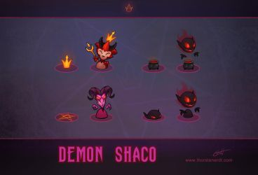 LoL skin concept: Demon Shaco: Box concepts by Shockowaffel