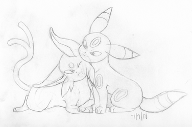 Espeon and Umbreon by EERIE-ECH0