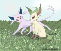 Leafeon and Espeon by ArtsyMaria