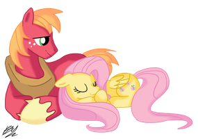 Big Mac and Fluttershy by BlacksWhites