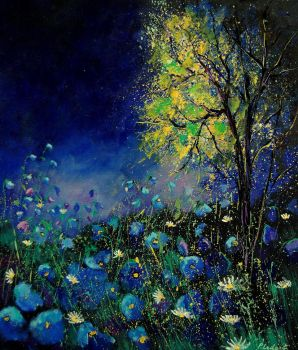 Blue poppies and daisies by pledent