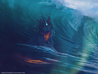 She rides the surf by nettlebird