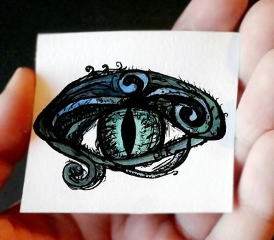 Watercolor and Ink Dragon Eye by TheAcrylicKnight