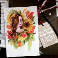 Sunflowers and tulips lady by colorprismita