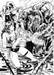Wonder-woman and wonder-girl x Man-Thing by ReneMicheletti