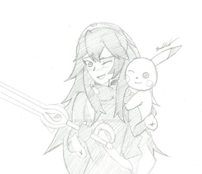 Lucina and Pikachu sketch by FantasyRebirth96