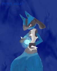 Lucario Sketch - Using Oil Pastels and Photoshop by ConfirmedGhost