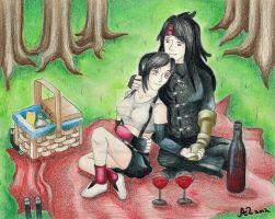 Picnic Day for the Red-Eyed Couple by LadyJuxtaposition