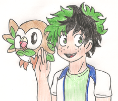 Pkmn X BnHA - Izuku with Rowlet by CobaltClaw19
