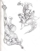 spidey v green goblin by johnercek