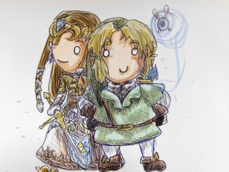 Link and Zelda Chibi by evangeline40003
