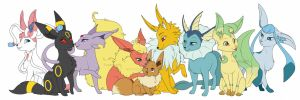 The whole eevee family by Sugarcup91