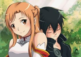 Sword Art Online: Kirito and Asuna fanart by nime080