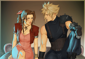 Cloud and Aerith by Merwild